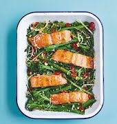 Fast and fab: One-tray sticky soy roasted salmon and veg