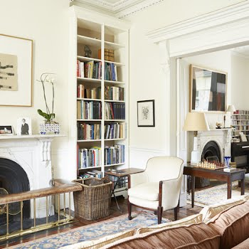 The drawing room and library.
